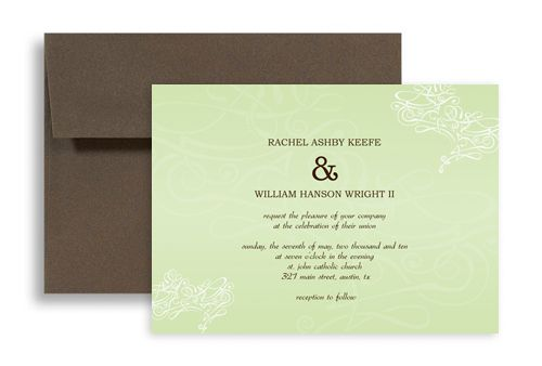 Simple Sage Light Color Wedding Invitation Templates 7x5 in ...