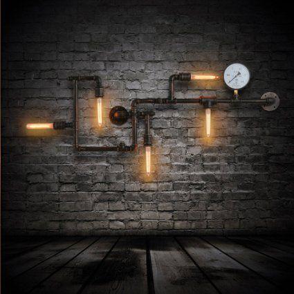 American Loft 5Köpfe Metall Tube Bar Zähler Wandleuchte Industrie Creative…