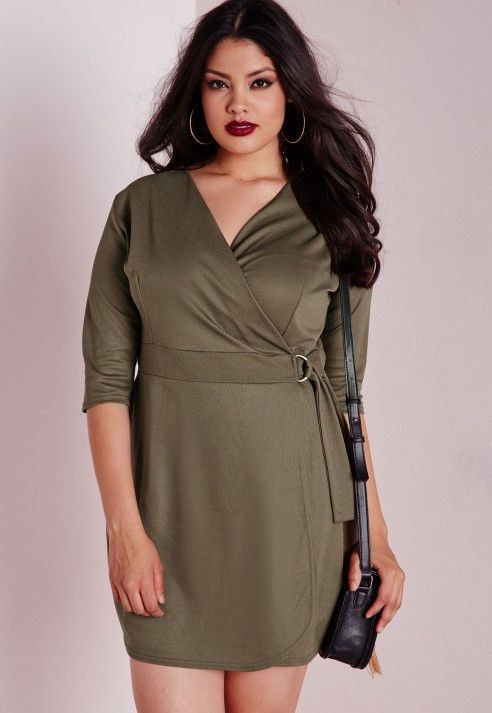 Missquided Green Khaki Belted Crepe Wrap Dress Plus Size 16 For