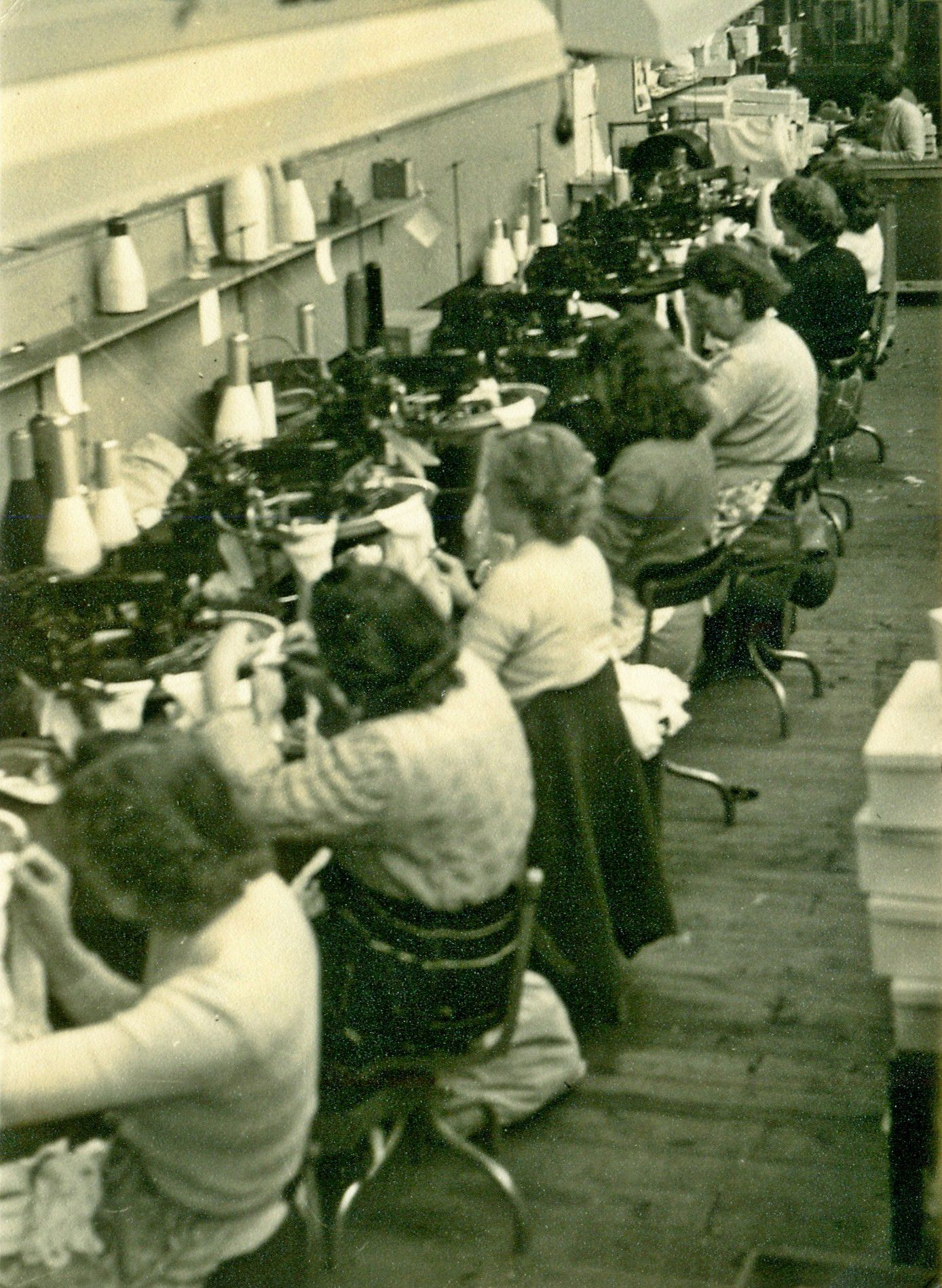 Skilled employees hand-linking the toes of Pantherella Fine English Socks in the late 1940s - it is still done in exactly the same way today, in exactly the same factory!