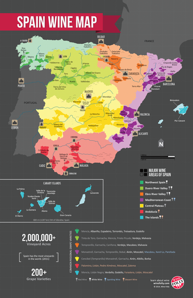 Wine regions of Spain. Looking forward to visiting a few of these this year.