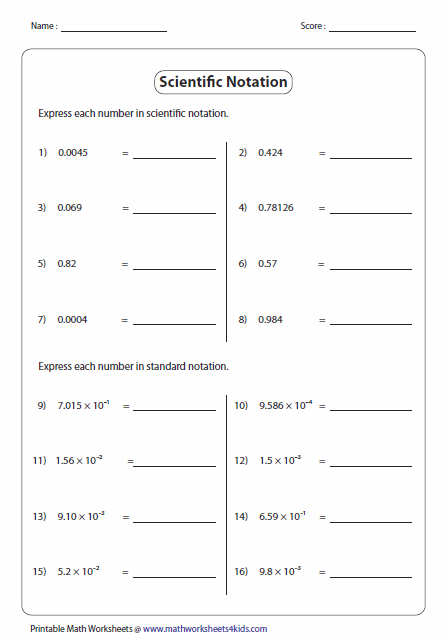 Scientific notations: Explore our worksheets on scientific and ...