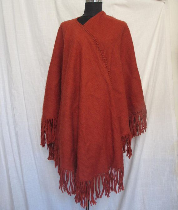 Red wool hand woven cape warm wool red cape