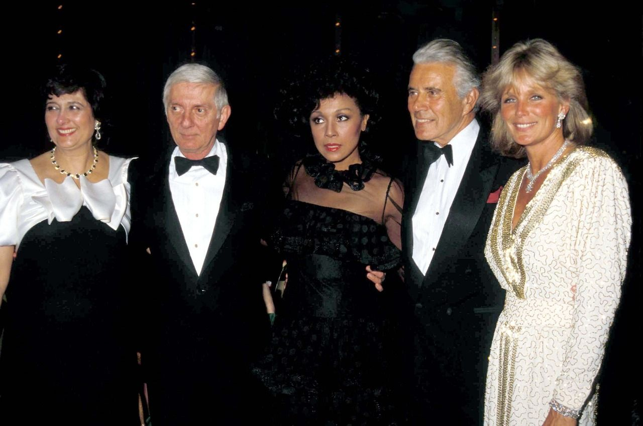 From left to right: Esther Shapiro (Creator of Dynasty); Executive Producer Aaron Spelling; Diahann Carroll (Dominique); John Forsythe (Blake); and Linda Evans (Krystle).
