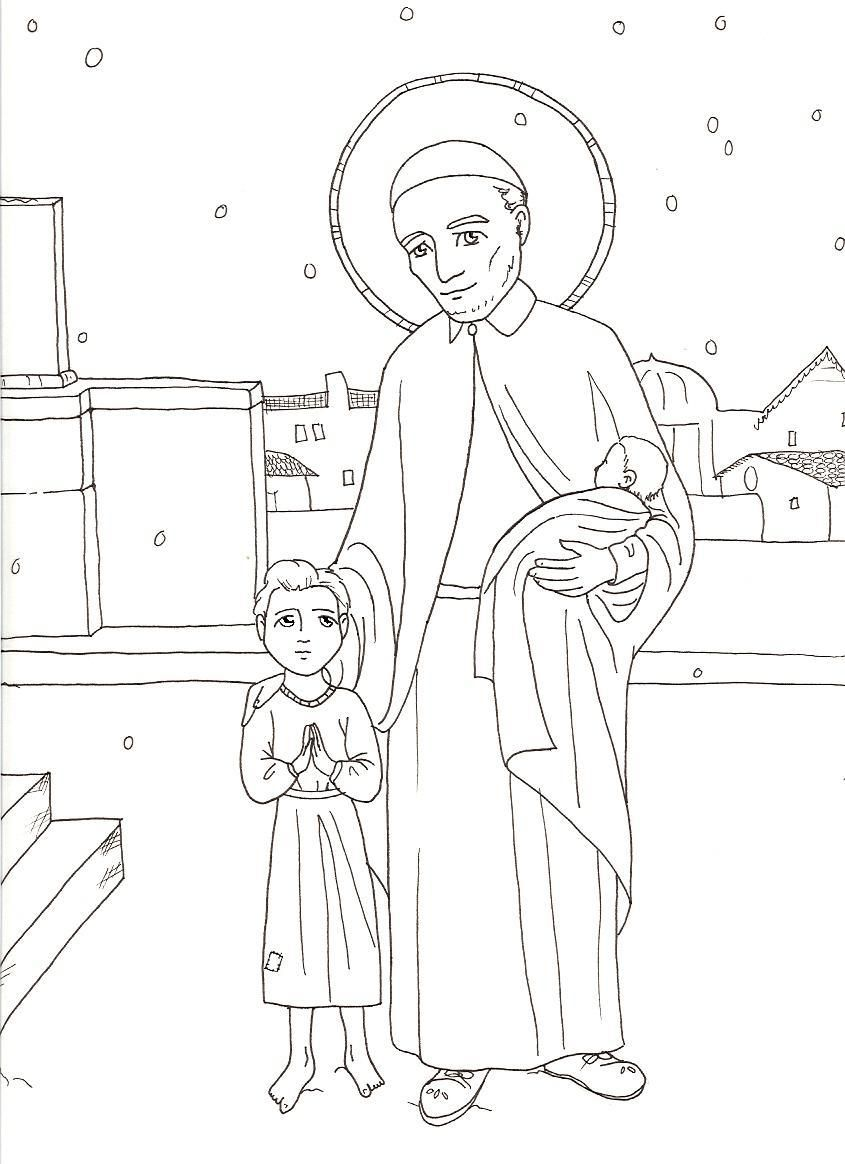 Saint Vincent De Paul Saints For Kids Saint Coloring Catholic Kids