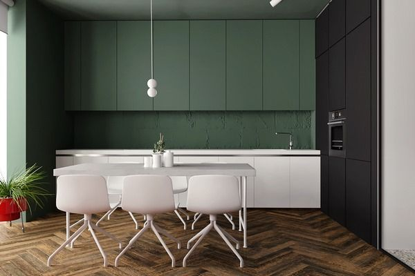 modern dark green kitchen design in minimalist style dark kitchen - Dark Green Kitchen Designs