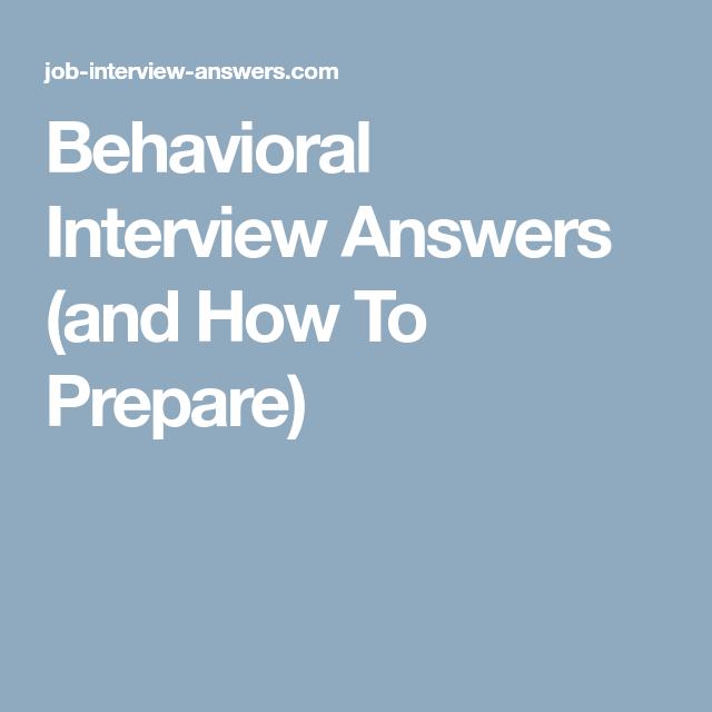 preparing for a behavioral interview