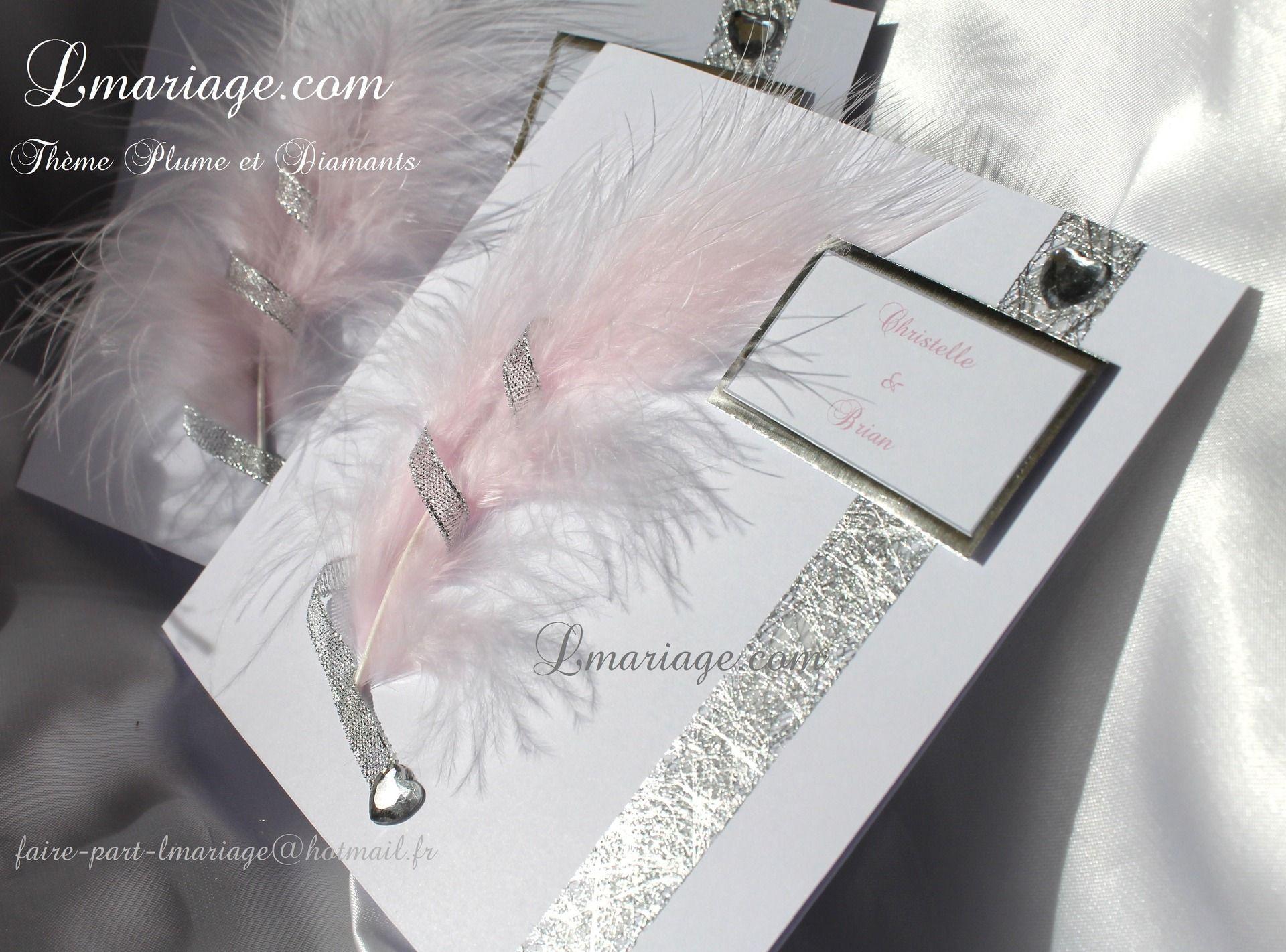 Bien-aimé Faire-part thème plume et diamants en blanc, argent et plume rose  AJ49