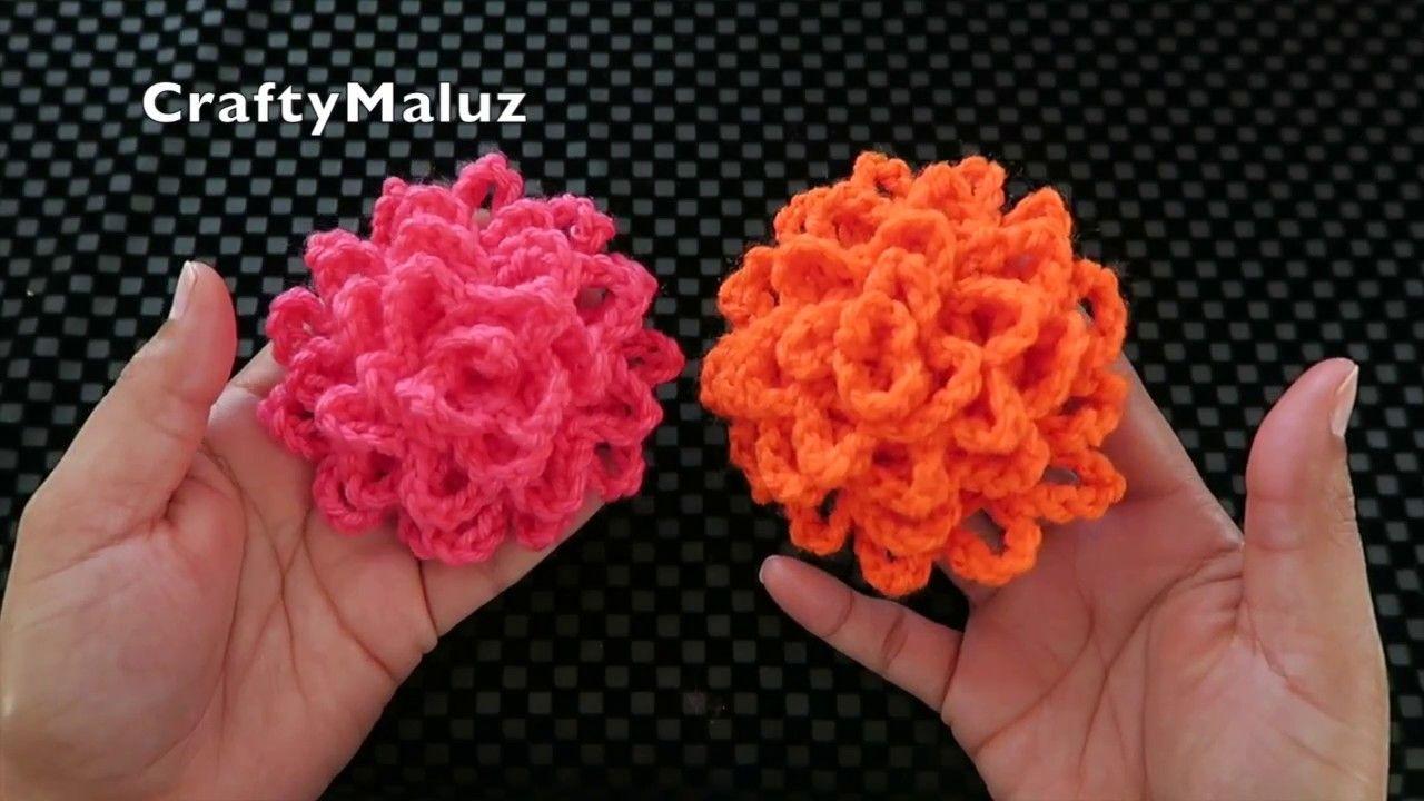♥CROCHET FLOR TEJIDA MUY FÁCIL | como hacer una flor tejida fácil y ...