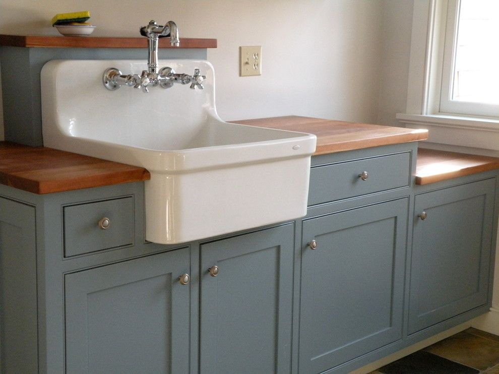 Farmhouse Utility Sink Laundry Room Traditional With Beaded Cherry Counter  Custom