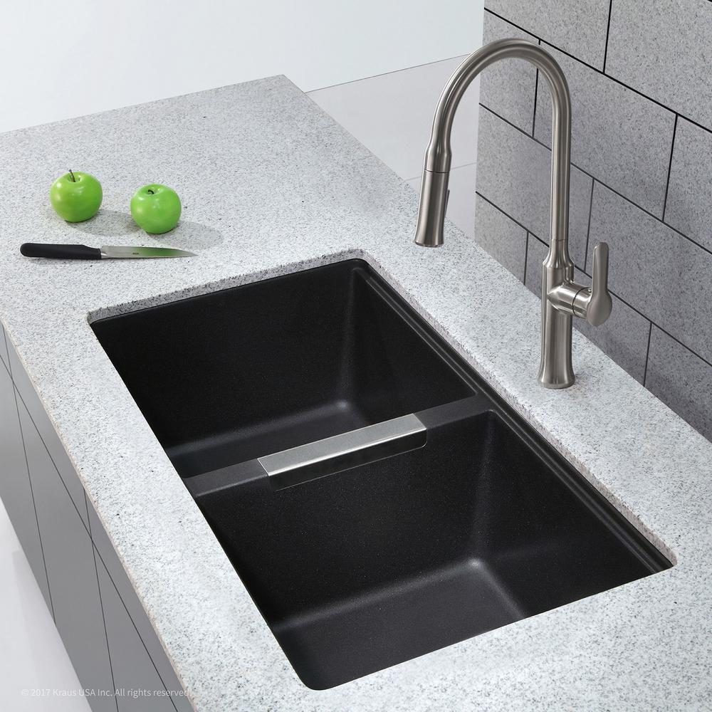 Kraus Undermount Granite Composite 33 In 50 50 Double Basin Kitchen Sink Kit In Black Kgu 434b The Home Depot Undermount Kitchen Sinks Kitchen Sink Remodel Best Kitchen Sinks