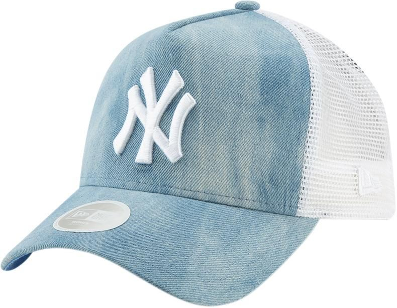 c88b7e09 NY Yankees Womens New Era A-Frame Tie Dye Light Blue Trucker Cap in ...