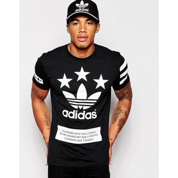 5242363ee6d adidas Originals Stars T-Shirt AB9607 ($40) ❤ liked on Polyvore featuring  men's fashion, men's clothing, men's shirts, men's t-shirts, black, star t  shirt, ...