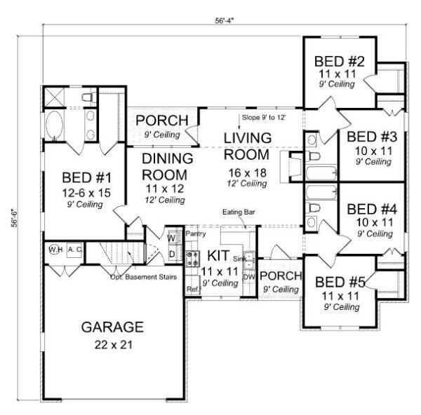 Casa De 5 Dormitorios Y 153 Metros Cuadrados Planos De Casas Gratis Deplanos Com Casa De 5 Dormitorios Planos De Casa De Un Piso Planos De Dormitorios