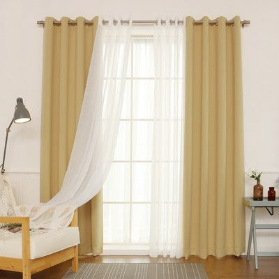 Willa Arlo Interiors Brunilda Traditional Solid Sheer Thermal Grommet Curtain Panels Color Wheat