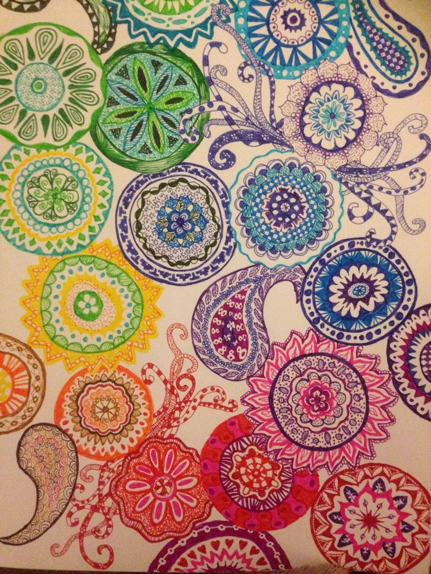 My own multicoloured zentangle inspired doodle bricolaje y