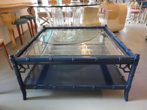 From Circa Who Faux Bamboo Coffee Table Thomasville Beautiful New Blue Finish Beach House