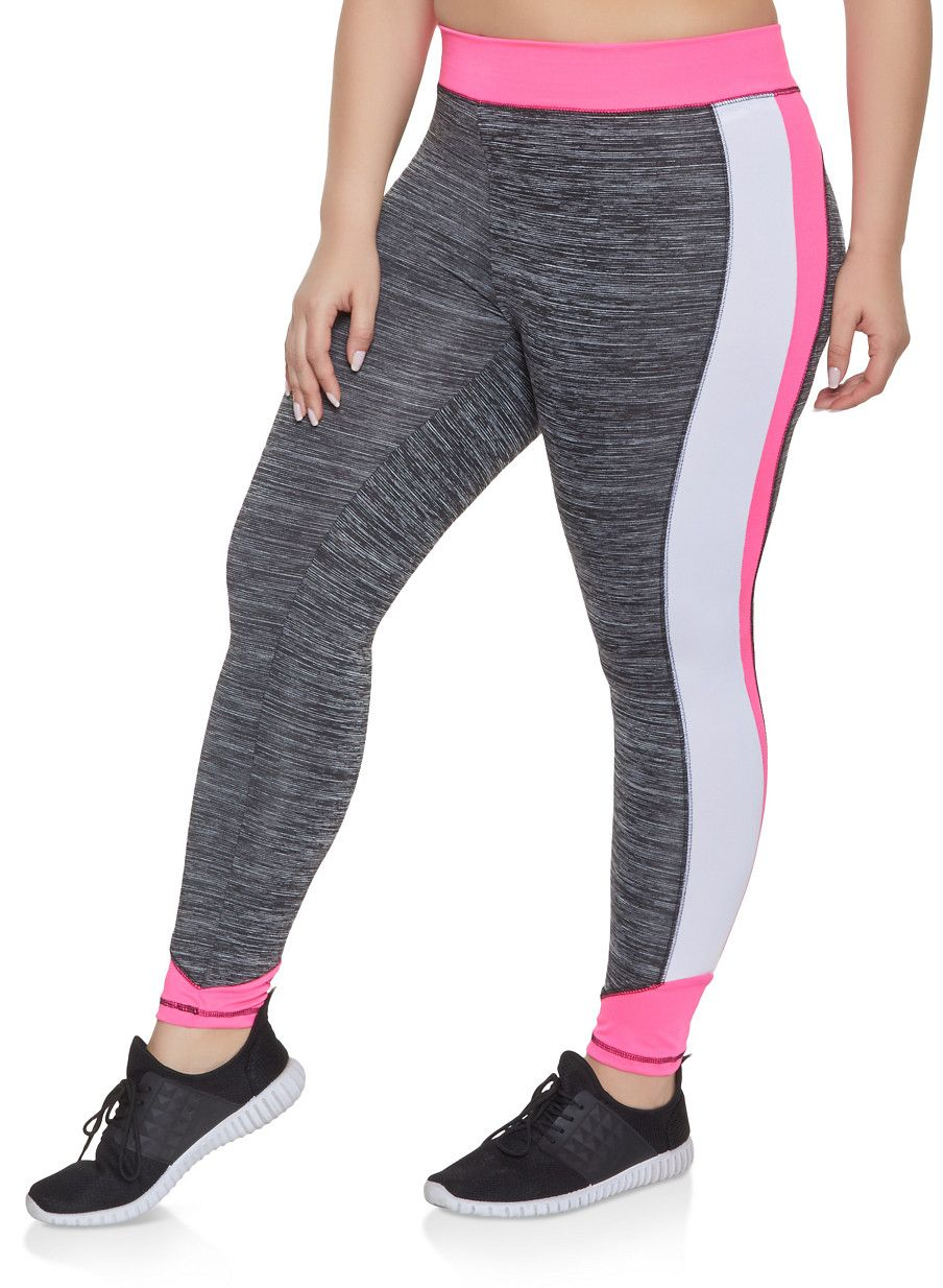 42d1e07e9f8348 Plus Size Color Block Activewear Leggings | 1951038341752 - Grey - Size 2X