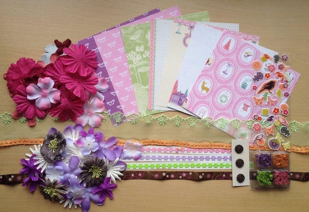 scrapbook cardmaking kit  paper flowers ribbons