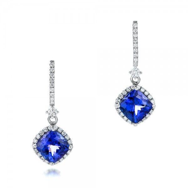 Custom Diamond And Tanzanite Earrings