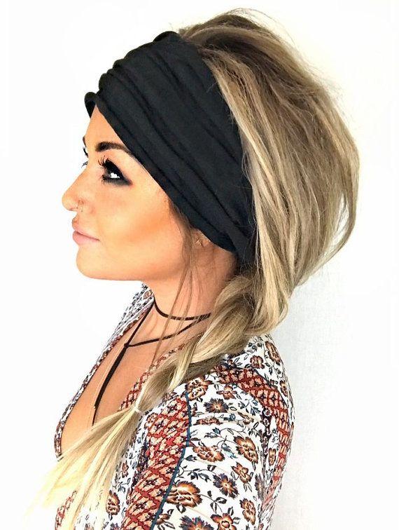 Black Scrunch Headband Extra Wide Headband Turban Headband Etsy Headband Hairstyles Extra Wide Headband Medium Hair Styles