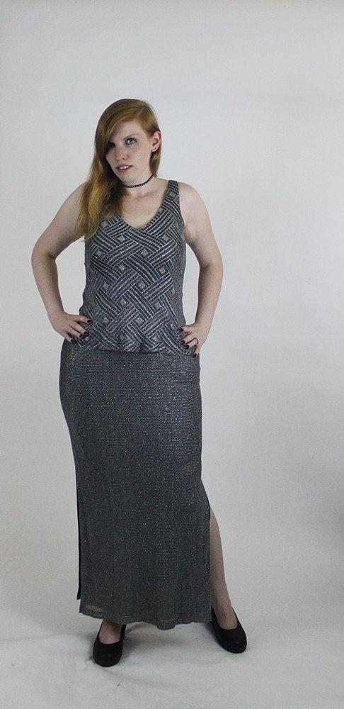 80s Silver Crochet Dress / Lace Evening Gown by WoodPaneledSoul ...