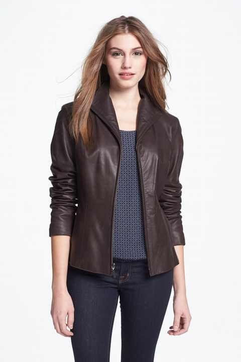 Cole Haan Lambskin Leather Scuba Jacket (Regular & Petite ...