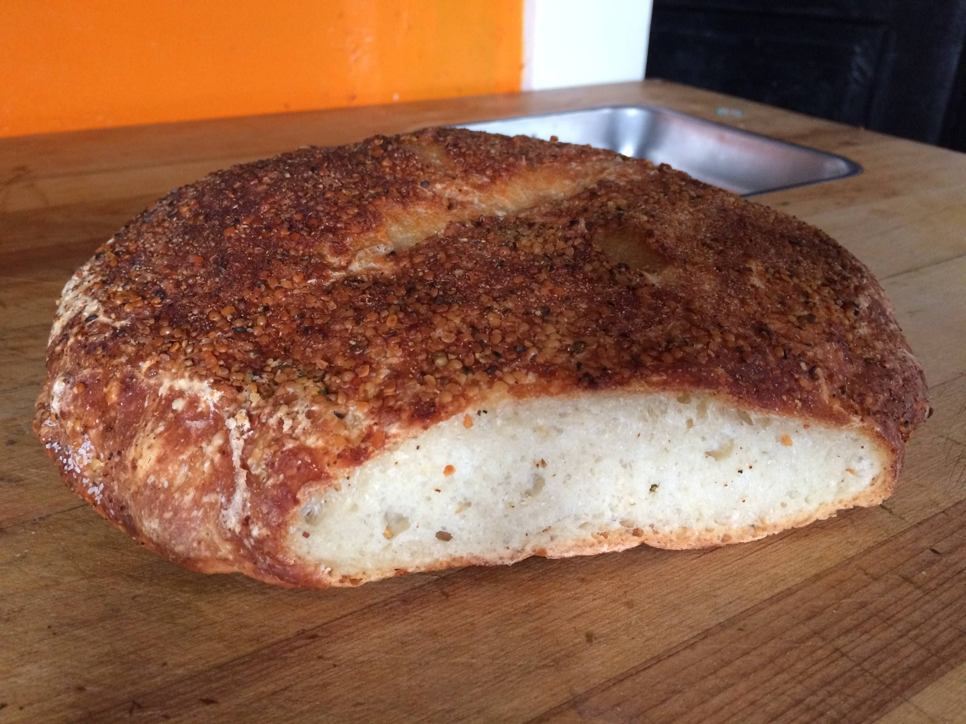 Simple home made bread baked in a dutch oven