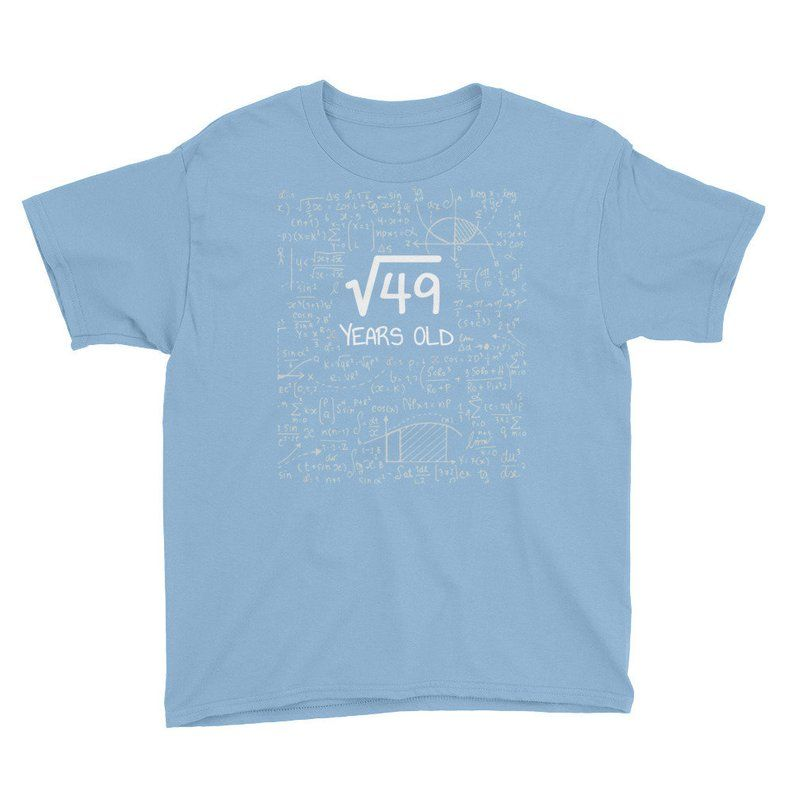 Square Root of 49 7 Years Old Youth T-Shirt Funny 7th Birthday Kids Shirt