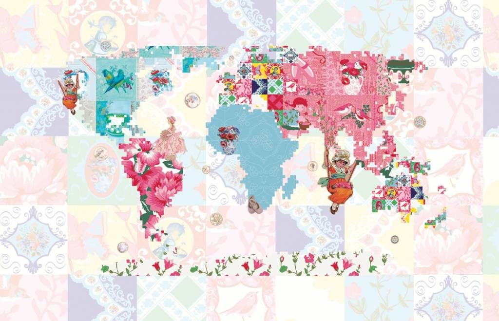 East West Papers Poster Mural Vintage Chic Carte Du Monde De East - Pink world map poster