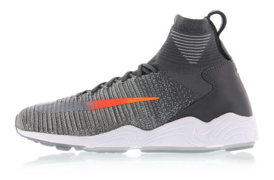 6caff387e2ed0 A Nike Zoom Mercurial Flyknit In Wolf Grey And Orange