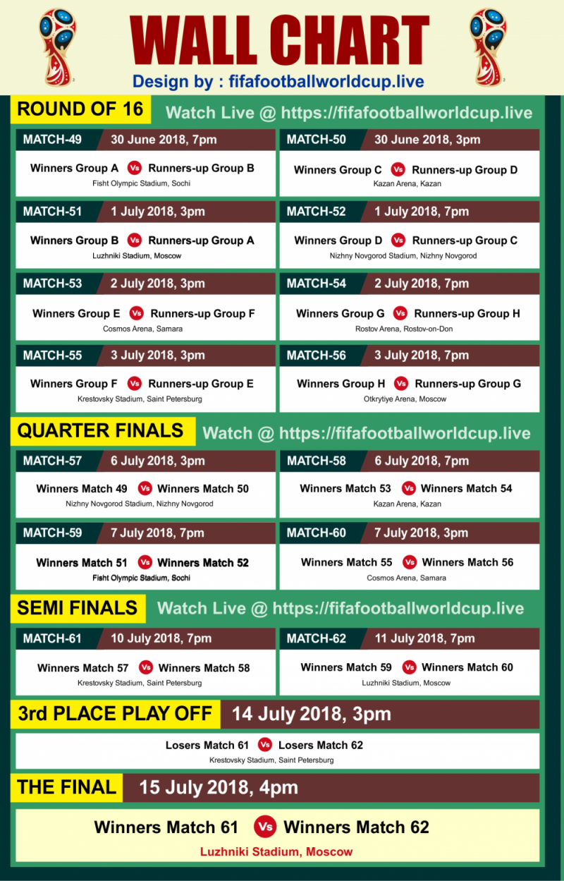 Download Best Images Of Fifa World Cup Pdf Schedule Fixtures 2018 Round Of 16 Quarter Final Semi Final Final Fifa World Cup World Cup Fifa