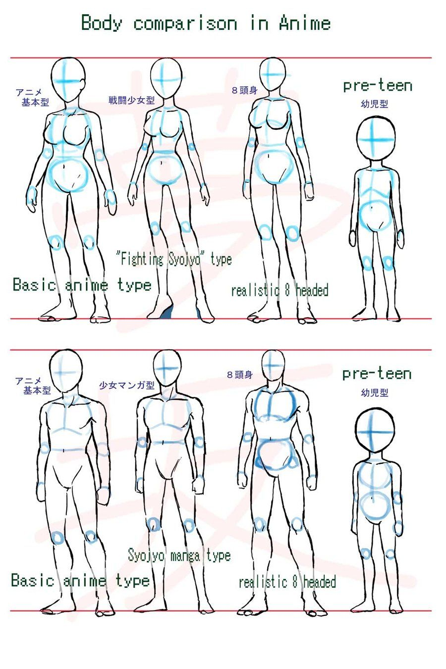 Anime body style comparison by Yumezaka on Deviant