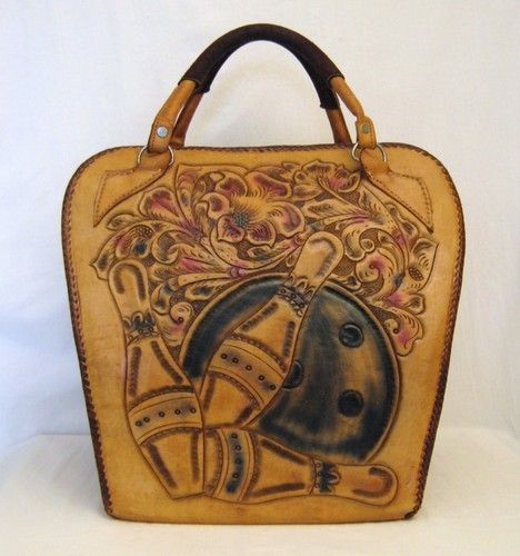 50s 60s Hand Tooled Leather Bowling Ball Bag Purse Bags