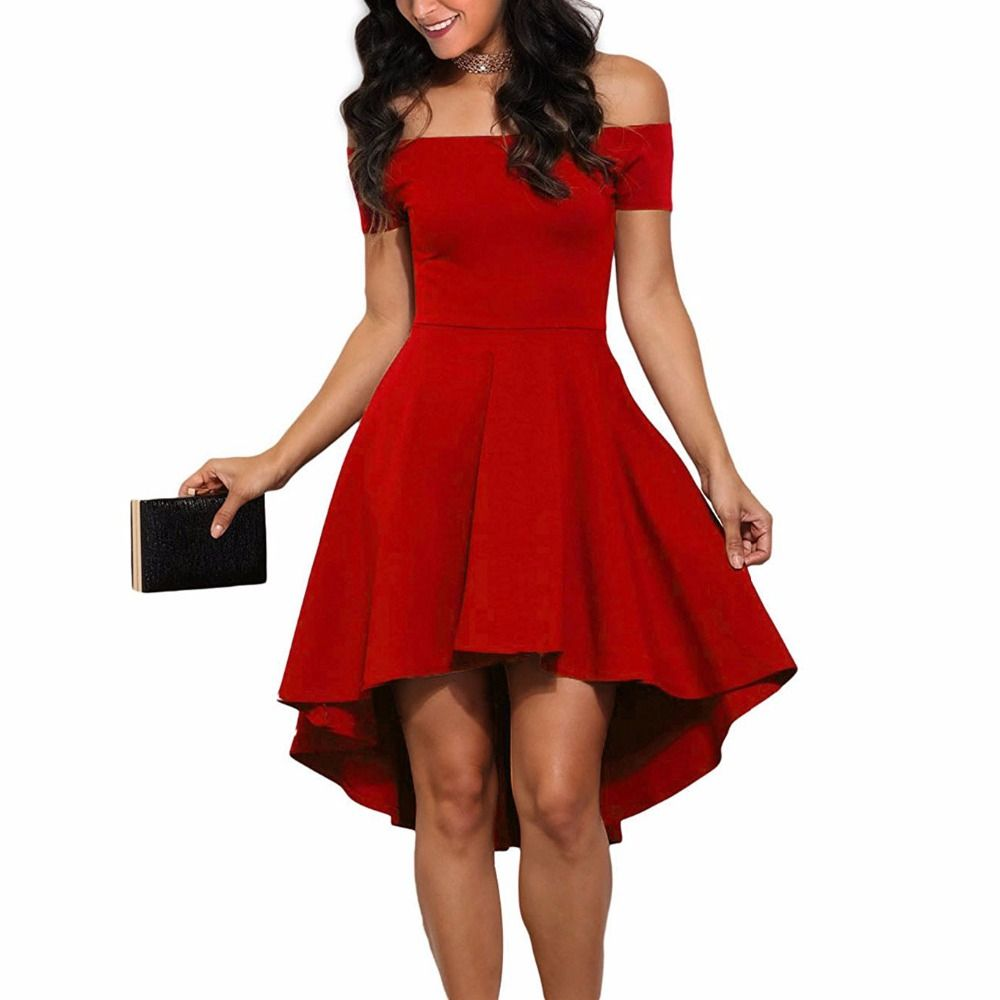 34edd71a05c9 Off Shoulder Party Cocktail Sexy Dress High Low Swing Skater Dresses PTC  169   Price