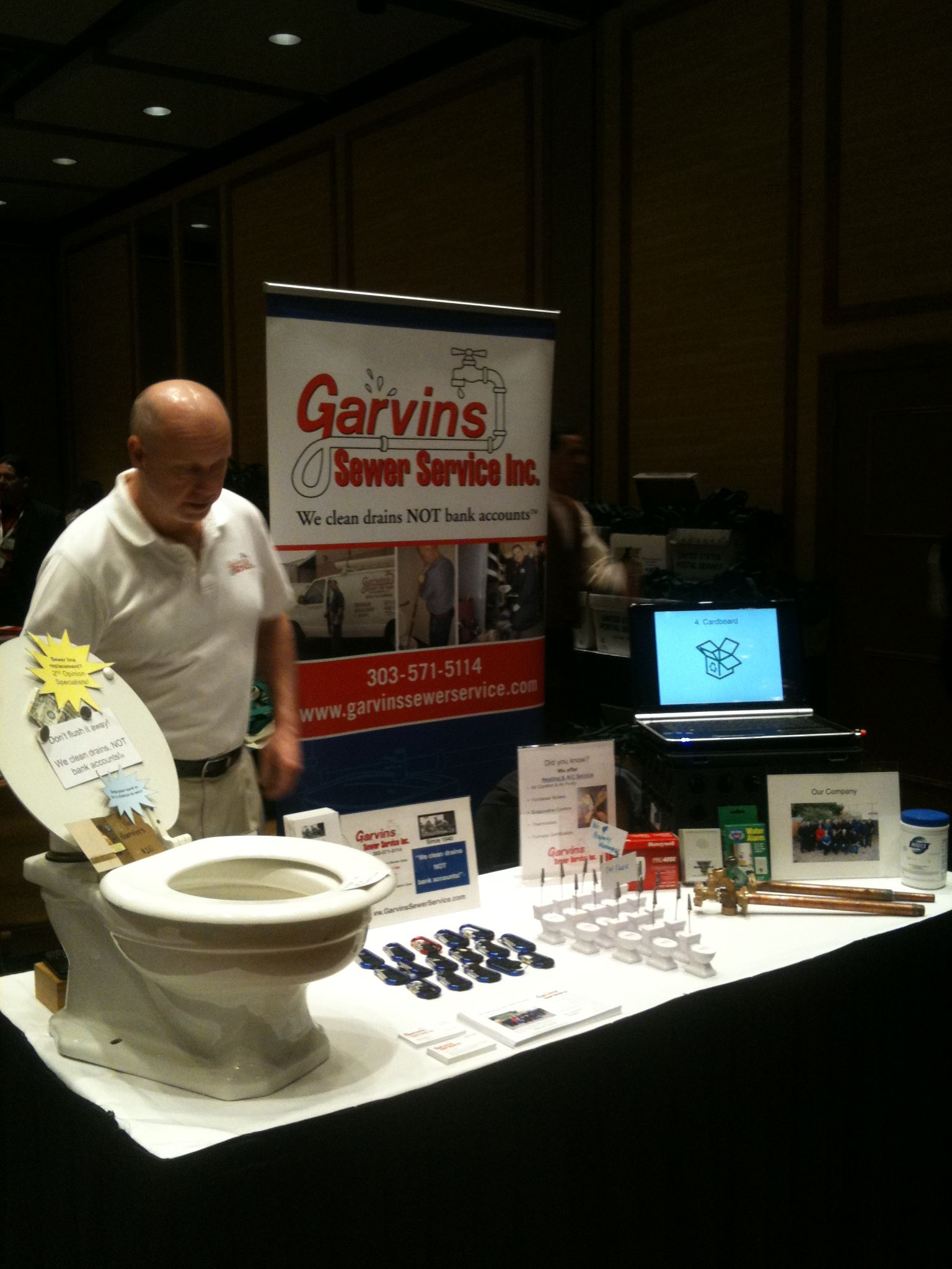 Service Manager Mitch at a tradeshow Drain cleaner