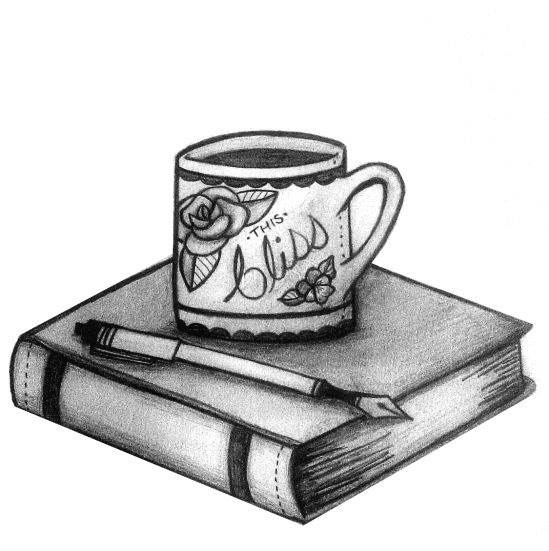 Image result for coffee and book  and pen