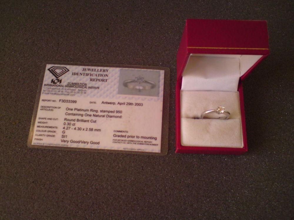 Single stone .30 diamond 950 solid platinum ring with IGI identfication report