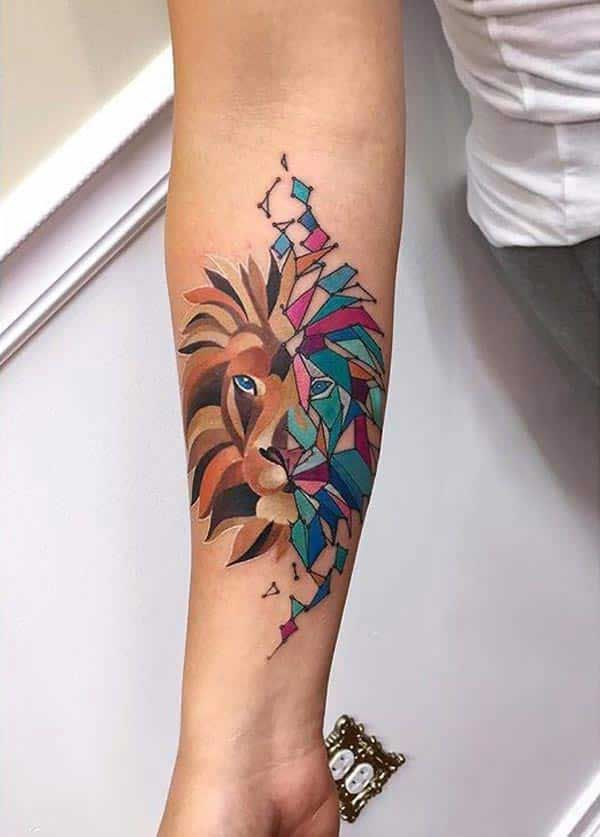 Stunning Creative Sleeve Lion Tattoo Design For Women Circle Tattoos Abstract Lion Tattoo Girly Tattoos