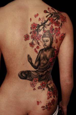 Photo Tattoo Feminin Bouddhiste Dos Avec Fleurs De Cerisier Inked