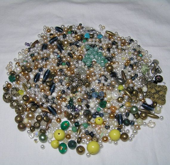 1 Pound of Mixed Lot Beads Rhinestones and by VictorianWardrobe
