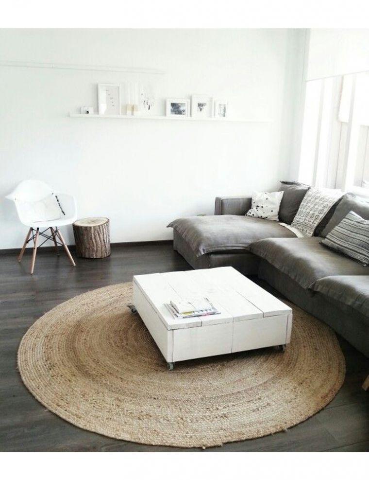 Grey Lounge Large Round Jute Rug White Walls