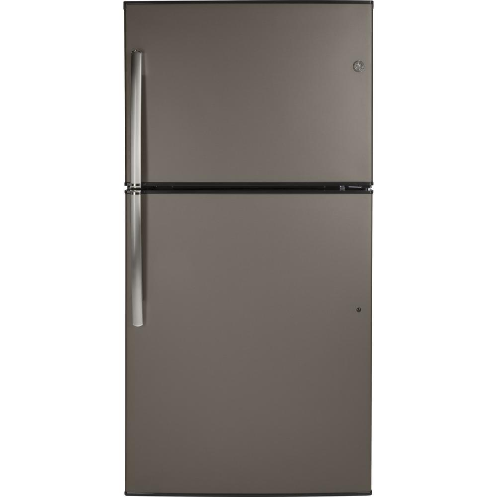 Ge 21 1 Cu Ft Top Freezer Refrigerator In Slate Fingerprint Resistant And Energy Star Gte21gmles Top Freezer Refrigerator Refrigerator Tempered Glass Shelves