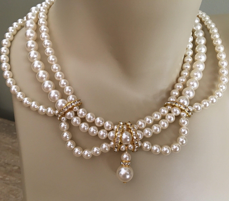 f00d6386e94c4 Wedding Jewelry Set Necklace Bracelet Earrings in a Vintage ...