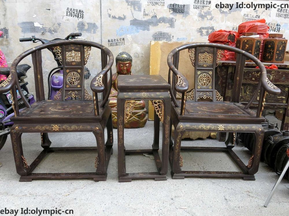 Antique furniture · China wood lacquer old dragon phoenix old-fashioned  wooden armchair Chair pair - China Wood Lacquer Old Dragon Phoenix Old-fashioned Wooden Armchair