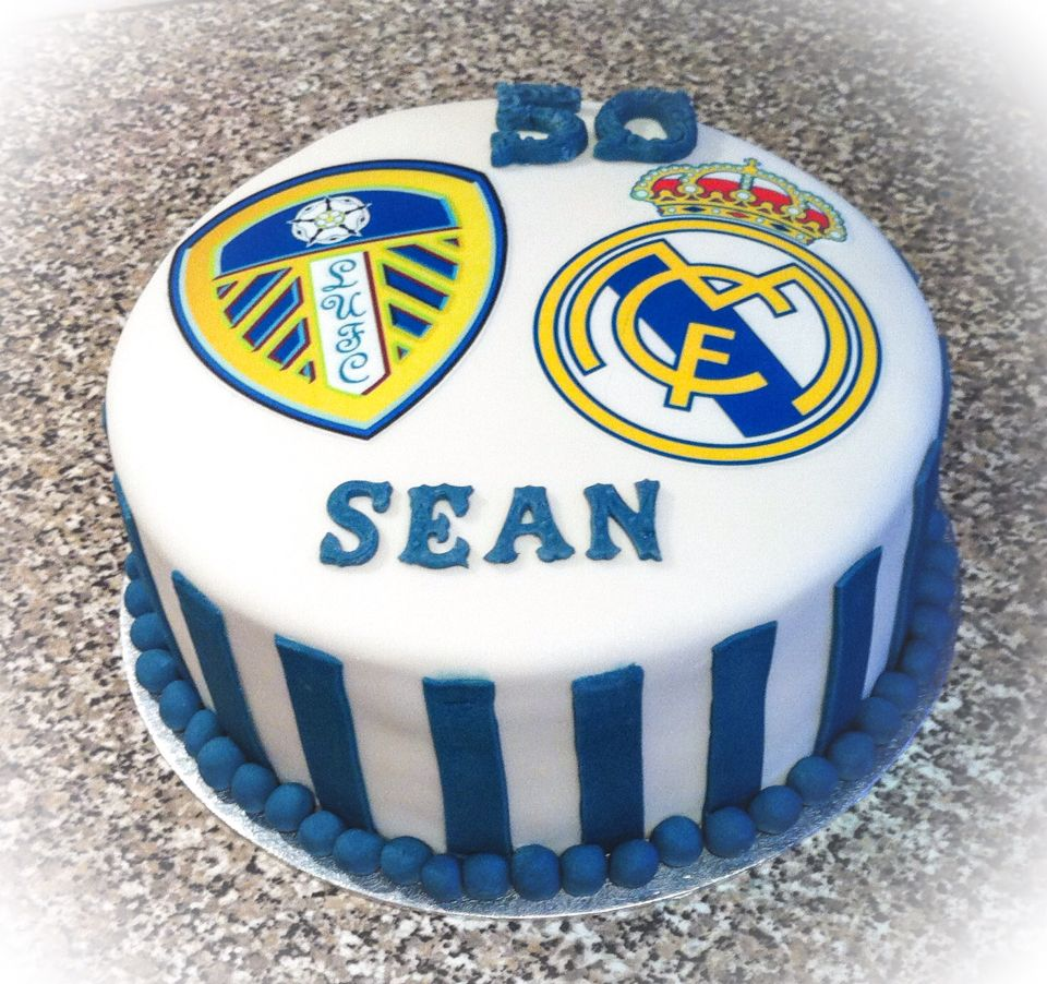 Leeds United and Real Madrid  cake for male 50th Birthday