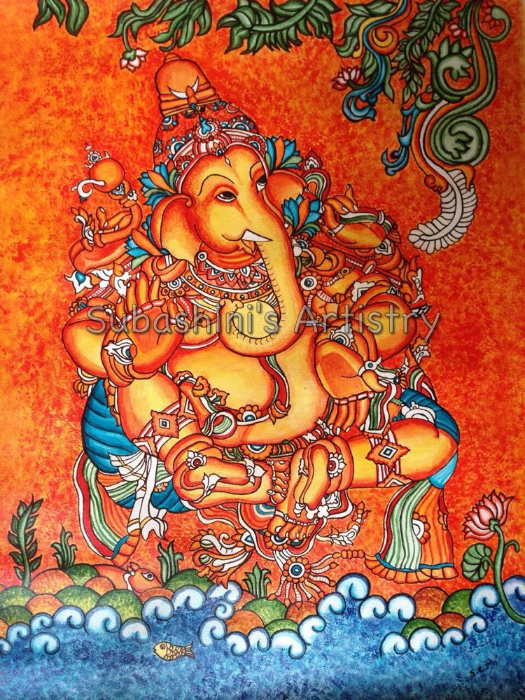 Kerala mural ganesha subashini 39 s artistry pinterest for Mural art of ganesha