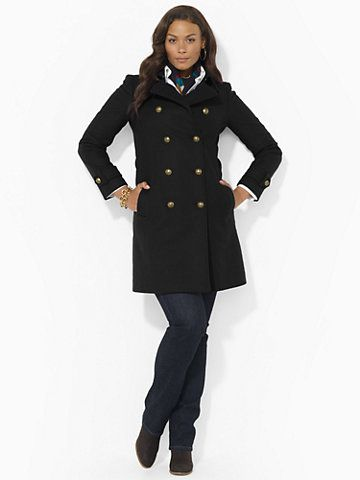 Wool-Blend Military Pea Coat -