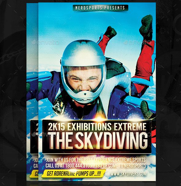 Skydiving Sports Flyer Design Are you going to just skydive - emerald flyer template