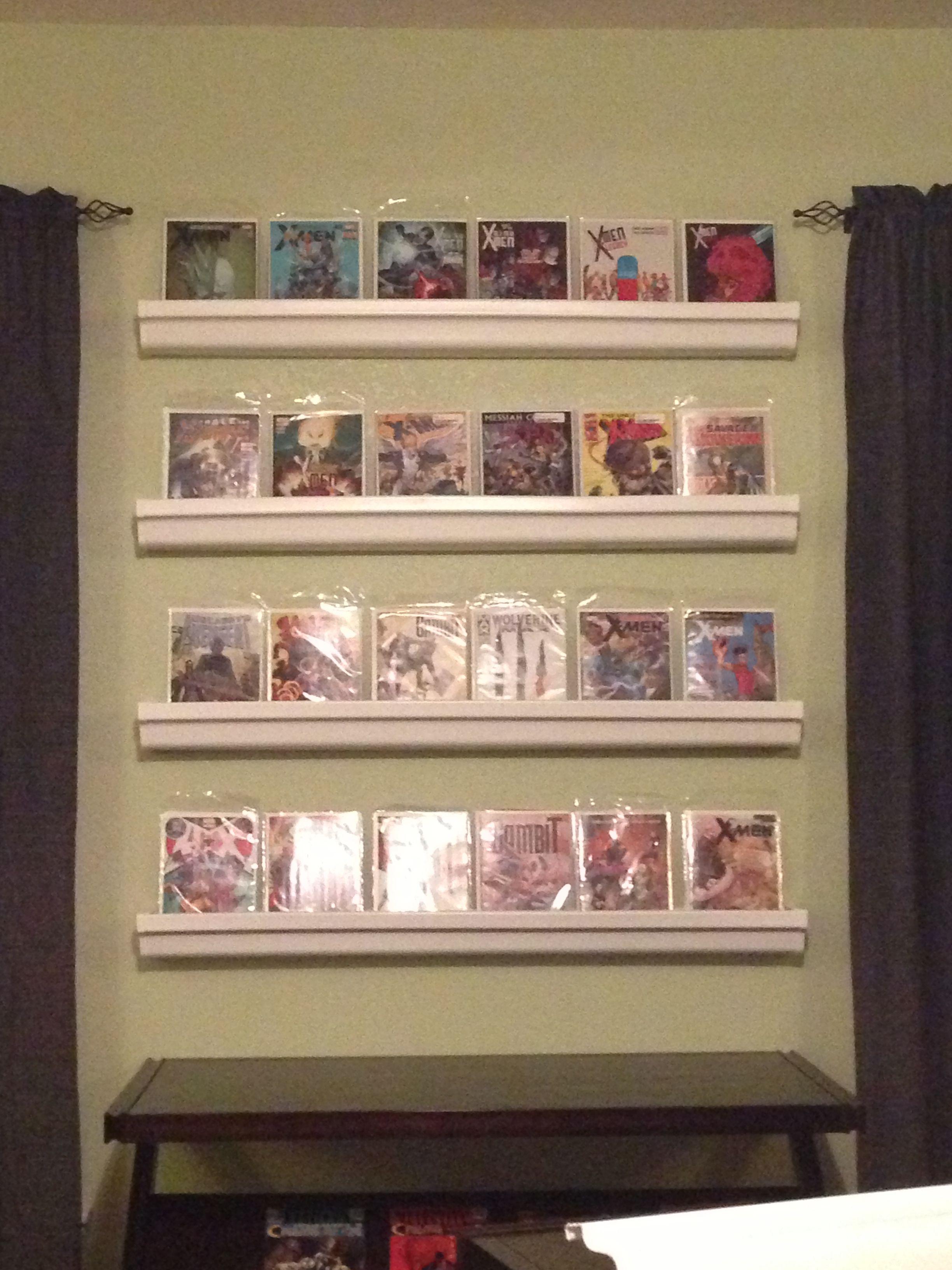 Comic Book Shelves Made From Rain Gutters Bookshelves